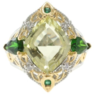 Michael Valitutti Two Tone Lemon Quartz And Chrome Diopside Ring