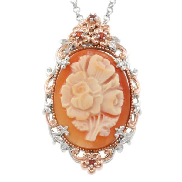 Michael Valitutti Two-tone Floral Cameo Pendant Necklace