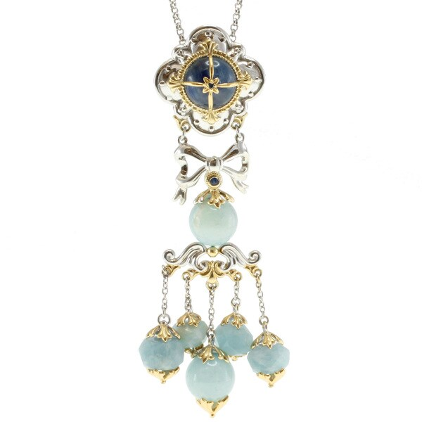 Michael Valitutti Two-tone Kyanite and Milky Aquamarie Pendant Necklace
