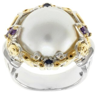 Michael Valitutti Two-Tone Mabe Pearl and Amethyst Ring