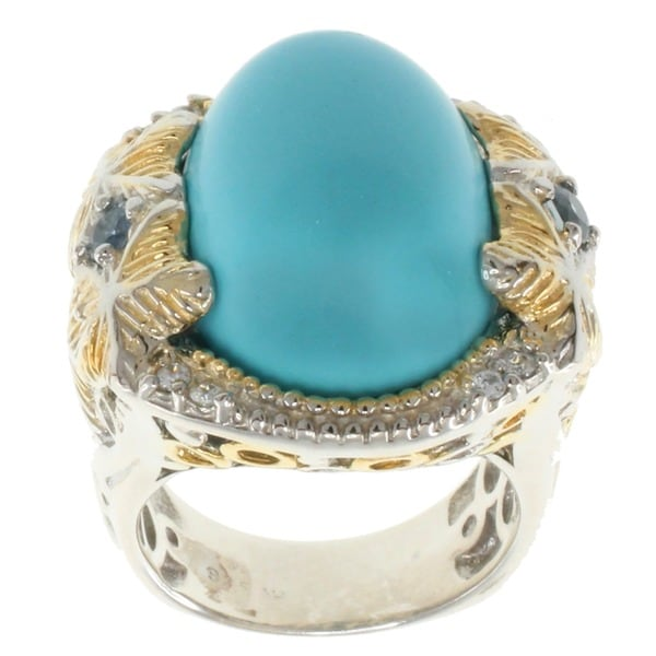 Michael Valitutti Two-tone Reconstituted Turquoise and Blue Sapphire Ring