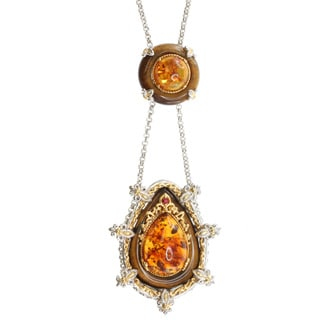 Michael Valitutti Two-tone Tiger's Eye and Amber Pendant Necklace