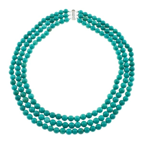 Pearlz Ocean Turquoise Howlite Triple Strand Necklace Jewelry for Womens
