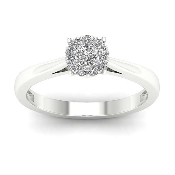 De Couer 10k White Gold 1/4ct TDW Diamond Ring