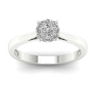 De Couer 10k White Gold 1/4ct TDW Diamond Ring