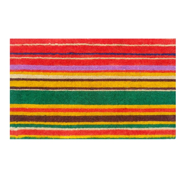 Natural Coir Multi-Stripe Thick Door Mat (1'6 x 2'6)