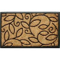Tuff Brush Coir & Rubber Vine Leaves Door Mat (1'5 x 2'5)