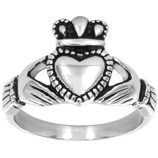 ELYA Polished Stainless Steel Antique Claddagh Ring - 13mm Wide
