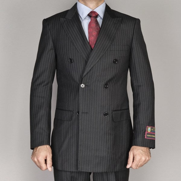 Men's Black Pin Stripe Double Breasted Suit