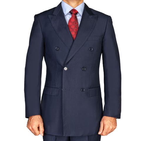 Men's Navy Blue Polyester Solid Double-breasted Suit