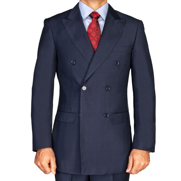 Men's Navy Blue Double Breasted Suit - Free Shipping Today ...