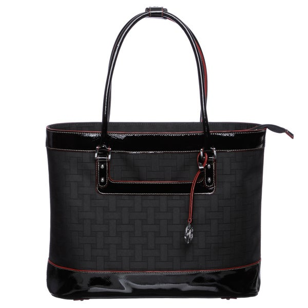 Johnston & Murphy 84-24331 Women's 'Mallory' Black Weave Pattern Laptop Tote Bag