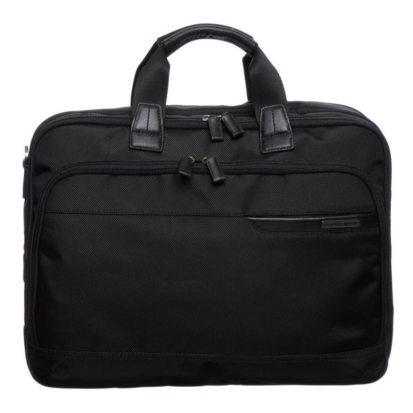 Johnston & Murphy Dividends Collection Black NylonDeluxe Expandable Briefcase