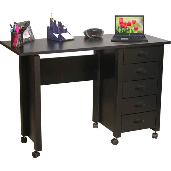 Venture Horizon Black Mobile Desk and Craft Center Sewing Machine Table