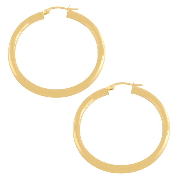 Fremada 10k Yellow Gold 30-mm Polished Tube Hoop Earrings
