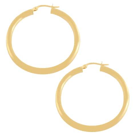 Fremada 10k Yellow Gold 30-mm Polished Tube Hoop Earrings