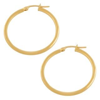 Fremada 10k Yellow Gold 25-mm Polished Tube Hoop Earrings