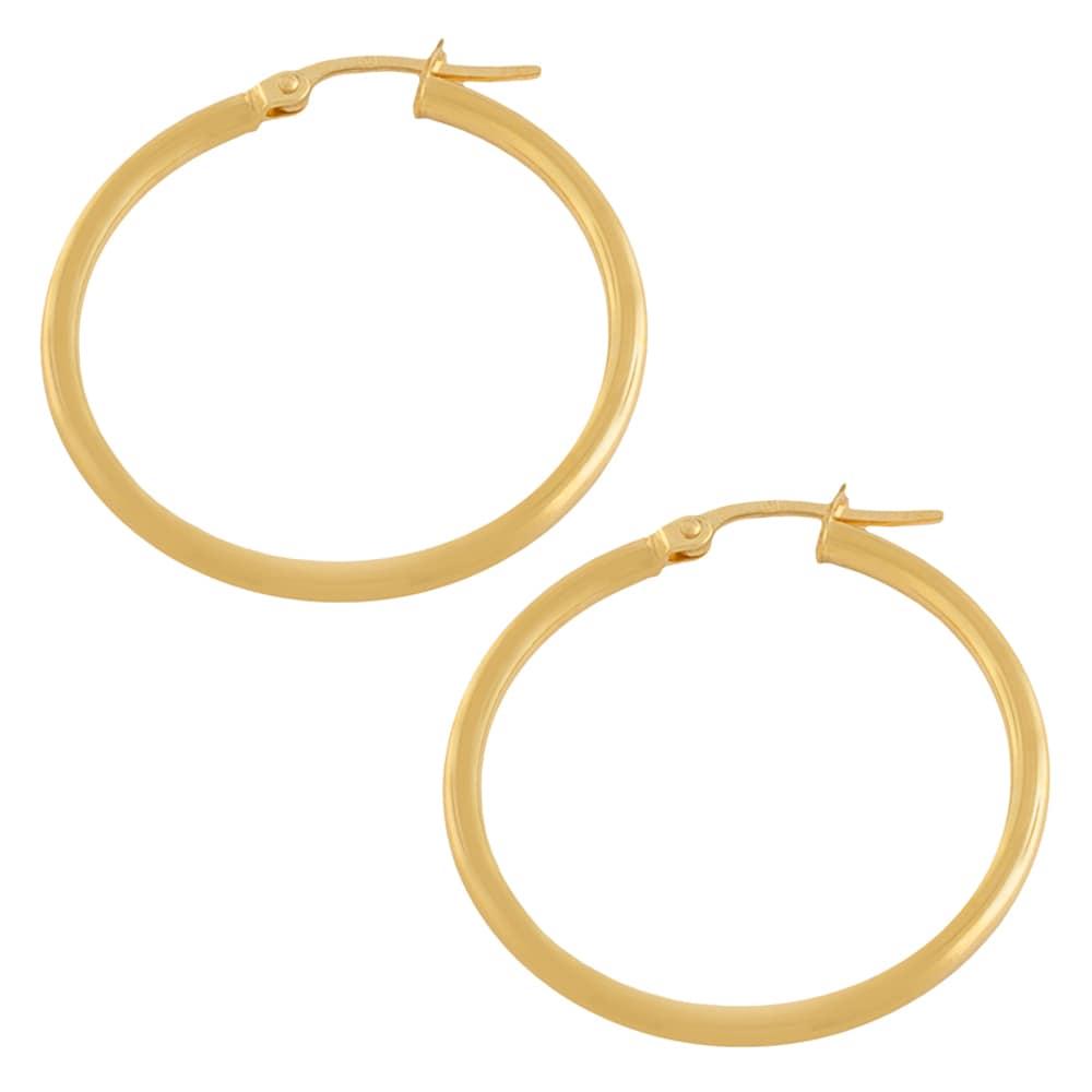 14K Yellow Solid Italian Gold Diamond Cut Hoop Hinged Earrings 1.5 mm 3//4 Inch