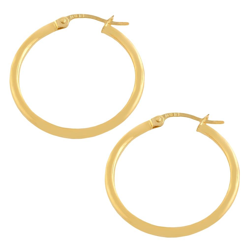 10KT GOLD POLISHED HOOPS 3//20MM HOOP EARRINGS