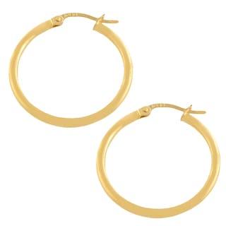 10k Yellow Gold 20mm Polished Tube Hoop Earrings