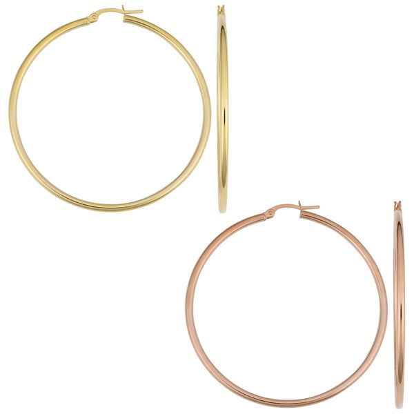 Fremada 14k Gold Polished Tube Hoop Earrings Free Shipping Today