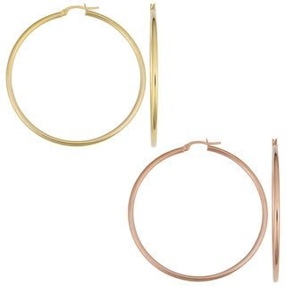 Fremada 14k Gold 2 x 50mm Polished Tube Hoop Earrings
