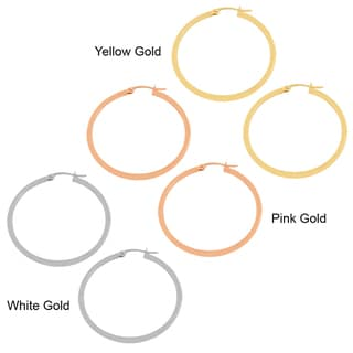 Fremada 14k Gold 2x30-mm Polished Tube Hoop Earrings