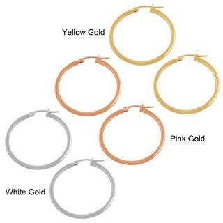 Fremada 14k Gold 2x25-mm Polished Tube Hoop Earrings