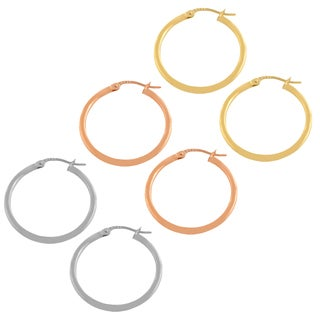 Fremada 14k Gold Polished Tube Hoop Earrings