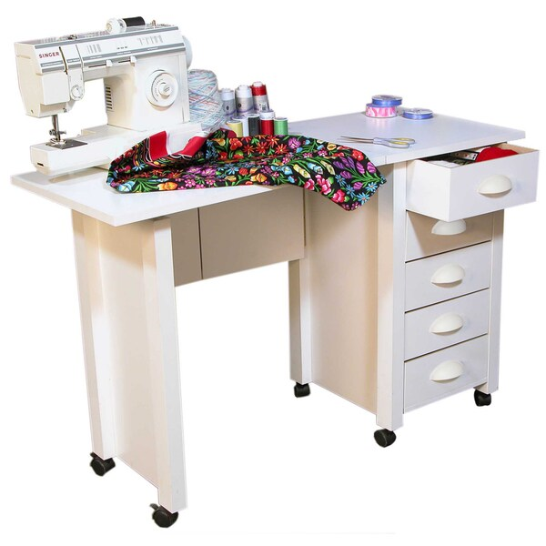 Venture Horizon White Mobile Desk and Craft Center Sewing Machine Table