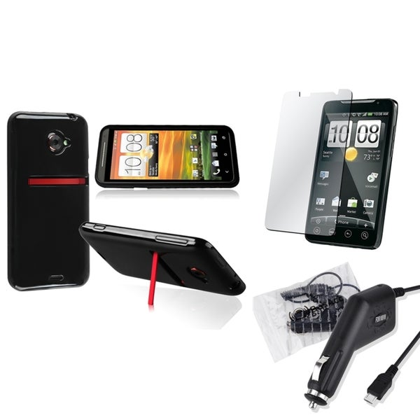 BasAcc TPU Case/ Screen Protector/ Car Charger for HTC EVO 4G LTE