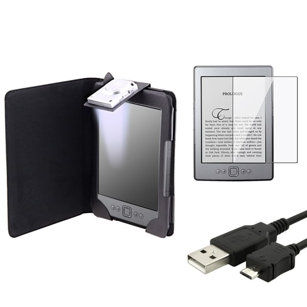 INSTEN Leather Phone Case Cover/ Screen Protector/ Cable for Amazon Kindle 4
