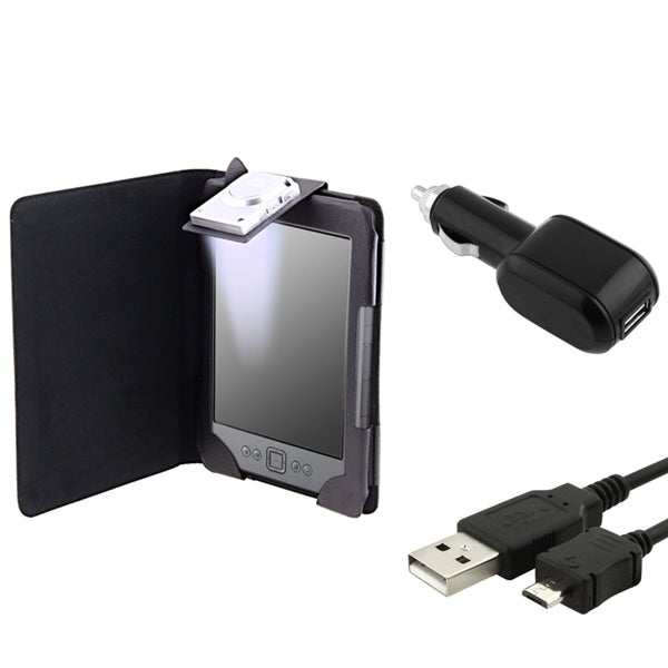 INSTEN Leather Phone Case Cover/ Car Charger/ USB Data Cable for Amazon Kindle 4