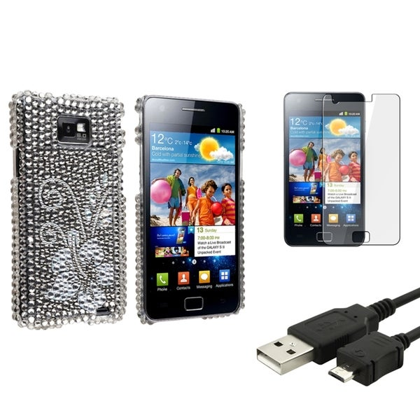 BasAcc Bling Diamond Case/Screen Protector/Cable for Samsung© Galaxy S2 i9100
