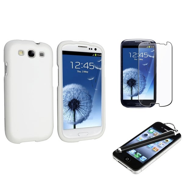 INSTEN White Rubber Phone Case Cover/ Screen Protector/ Stylus for Samsung Galaxy SIII/ S3