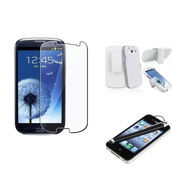 BasAcc White Holster Case/Screen Protector/Stylus for Samsung Galaxy SIII/S3