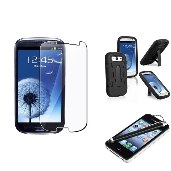 INSTEN Black Hybrid Phone Case Cover/ Screen Protector/ Stylus for Samsung Galaxy SIII/ S3