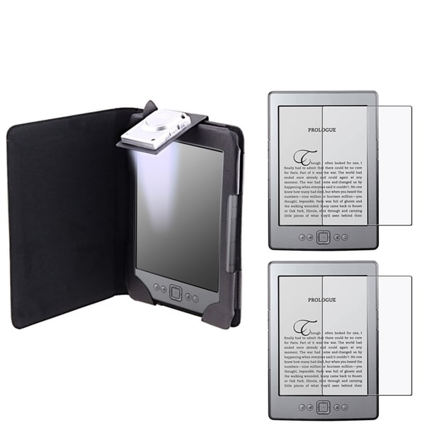 INSTEN Leather Phone Case Cover/ Anti-glare Screen Protector for Amazon Kindle 4