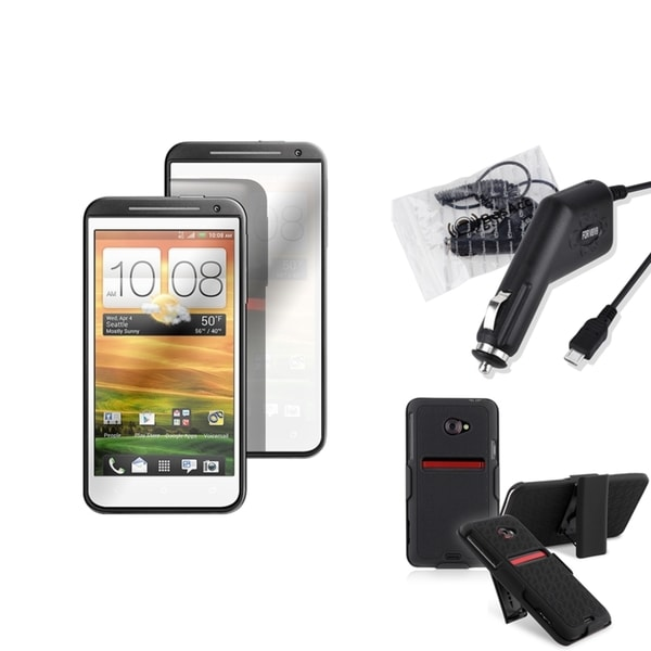 BasAcc Holster/ Mirror Screen Protector/ Charger for HTC EVO 4G LTE