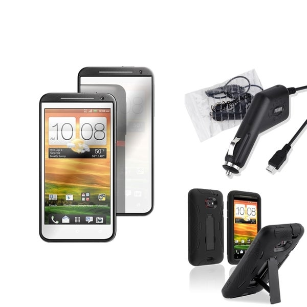 BasAcc Black Case/ Mirror Screen Protector/ Charger for HTC EVO 4G LTE