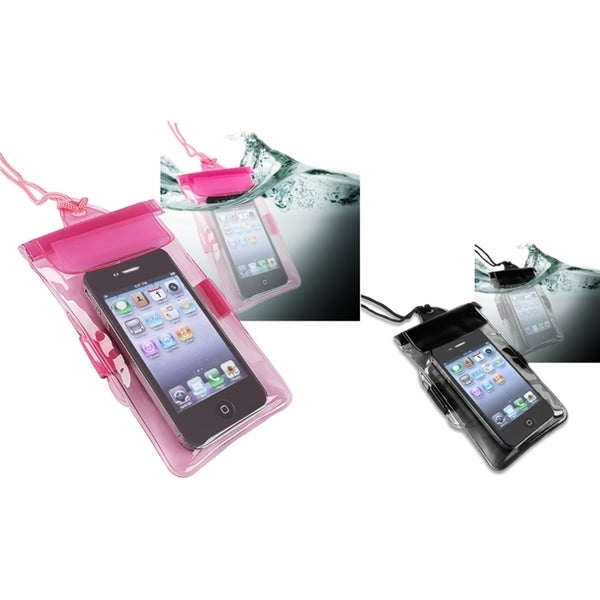 INSTEN Black/ Hot Pink Clear Waterproof Phone Case Covers for Motorola Droid RAZR XT910