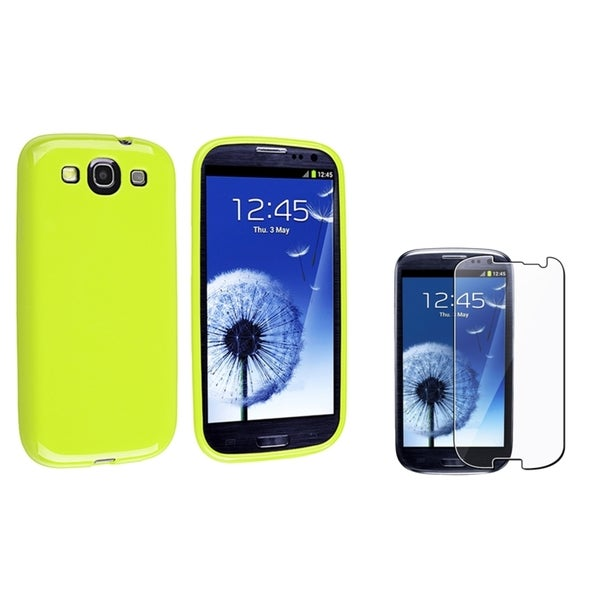 INSTEN Green TPU Phone Case Cover/ Screen Protector for Samsung Galaxy S III/ S3