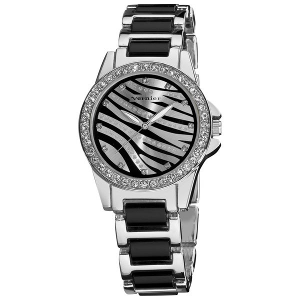 Vernier Ladies Fashion Zebra Print Genuine Crystal Stones Bracelet Watch