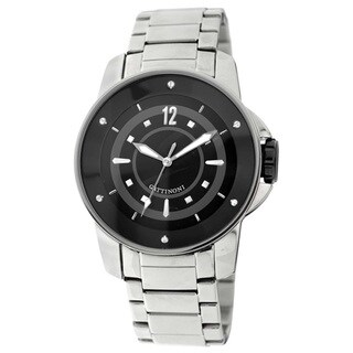 Gattinoni Men's Stainless Steel Black Dial Watch
