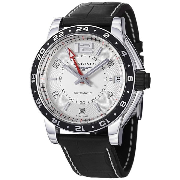 Longines Men's 'Admiral' Silver GMT Dial Black Leather Strap Watch