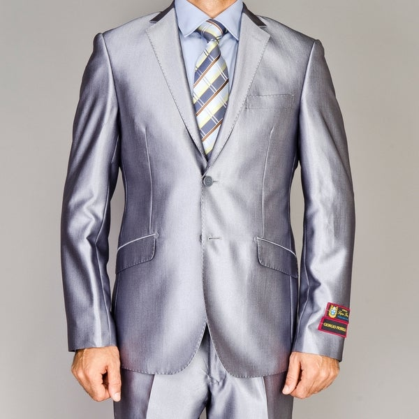 Men's Shiny Silver Slim-fit Suit