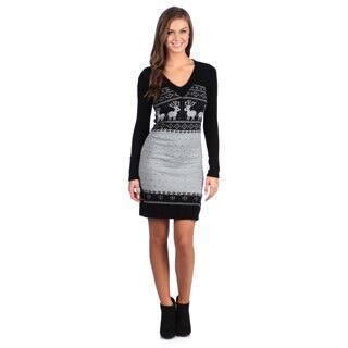 White Mark Women's 'Boston' Black/ Grey Sweater Dress|https://ak1.ostkcdn.com/images/products/7318023/White-Mark-Womens-Boston-Black-Grey-Sweater-Dress-P14786907.jpg?impolicy=medium