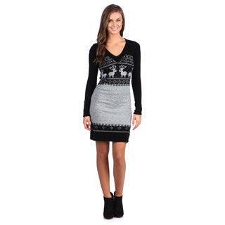 White Mark Women's 'Boston' Black/ Grey Sweater Dress