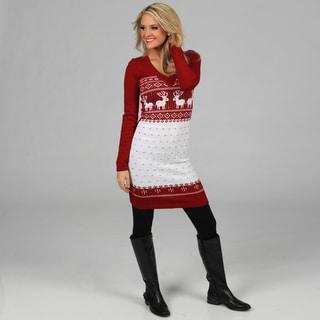 White Mark Women's 'Boston' Red/ White Sweater Dress