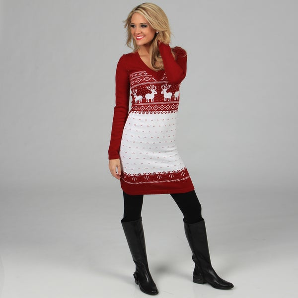 White Mark Women's 'Boston' Red/ White Sweater Dress